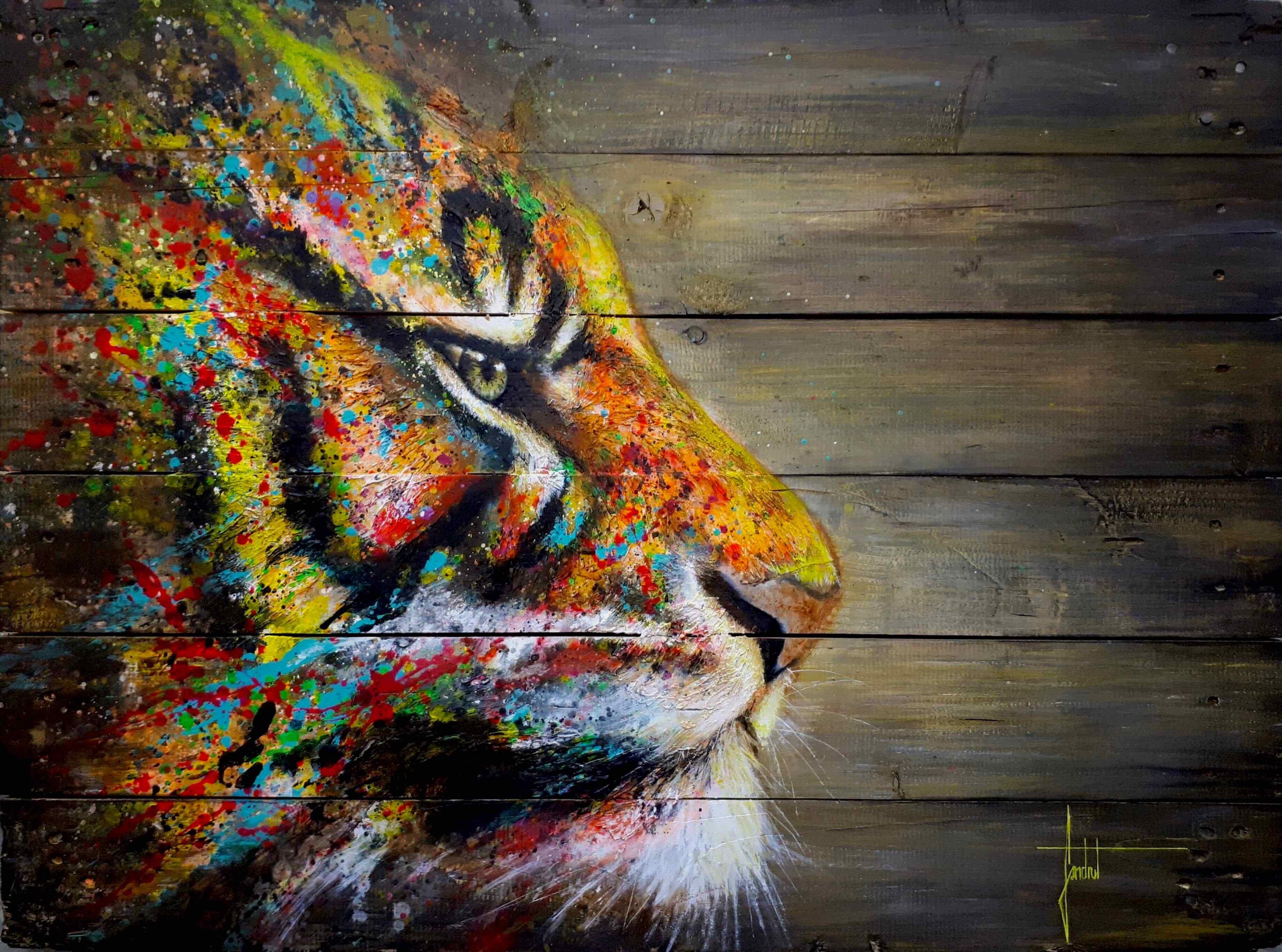 Sandrot Free Spirit project Inaudible Voices peinture espèces menacées Tigre