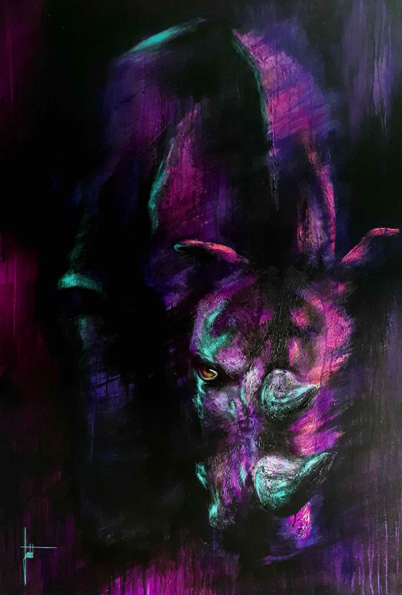 Sandrot Free Spirit project Inaudible Voices peinture espèces menacées Rhinocéros