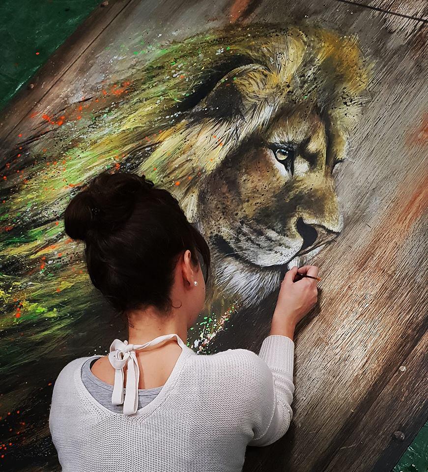 Sandrot Free Spirit project Inaudible Voices peinture espèces menacées Lion
