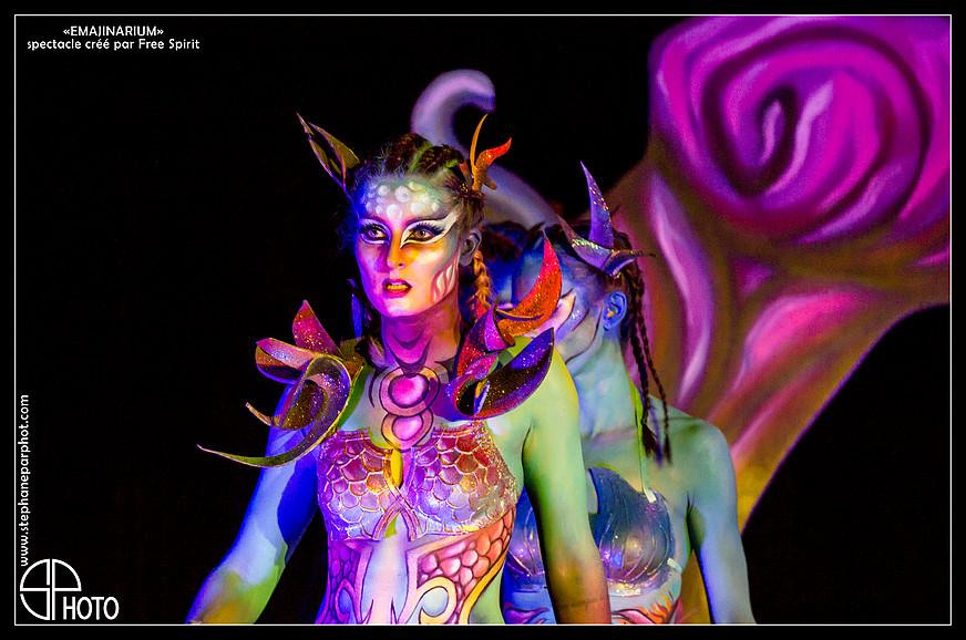 Shiiva EMAJINARIUM Bodypainting facepainting Paris spectacle soirée